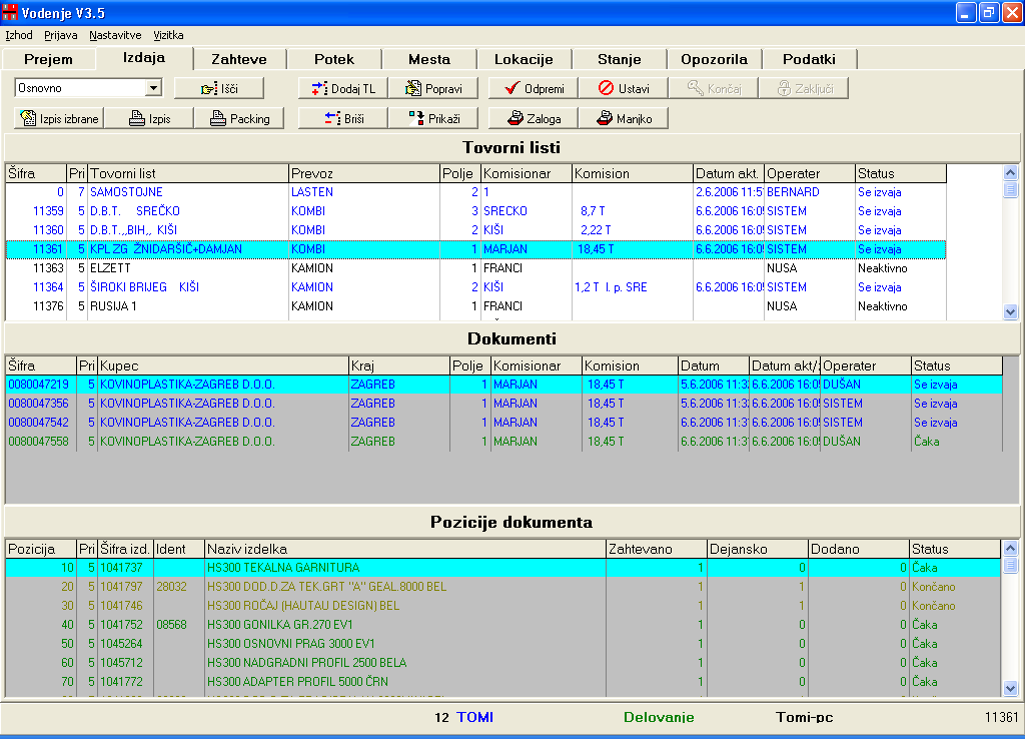 Skladišče in logistika - izdaja blaga